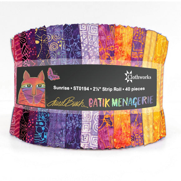 Clothworks Batik Menagerie Sunrise Strip Roll