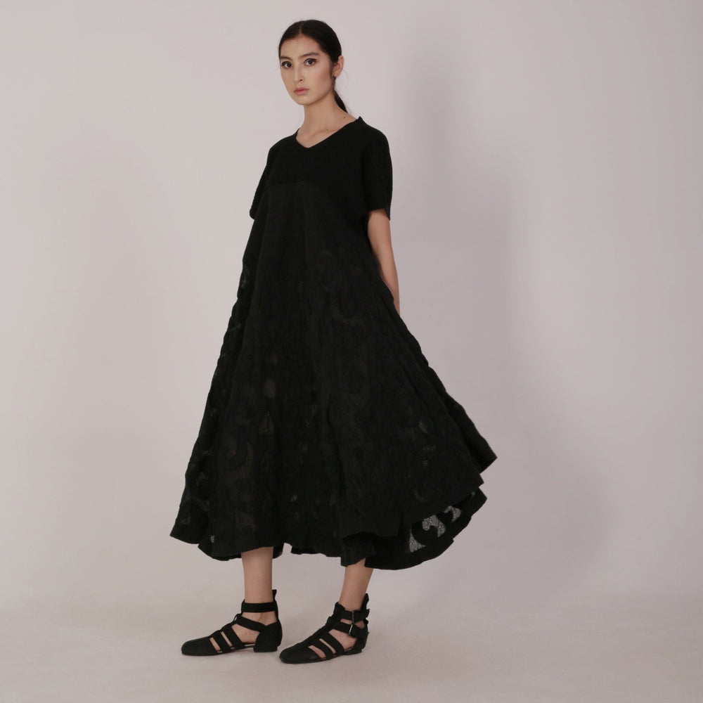Haute Artisan Tribal Black Dress Aibika