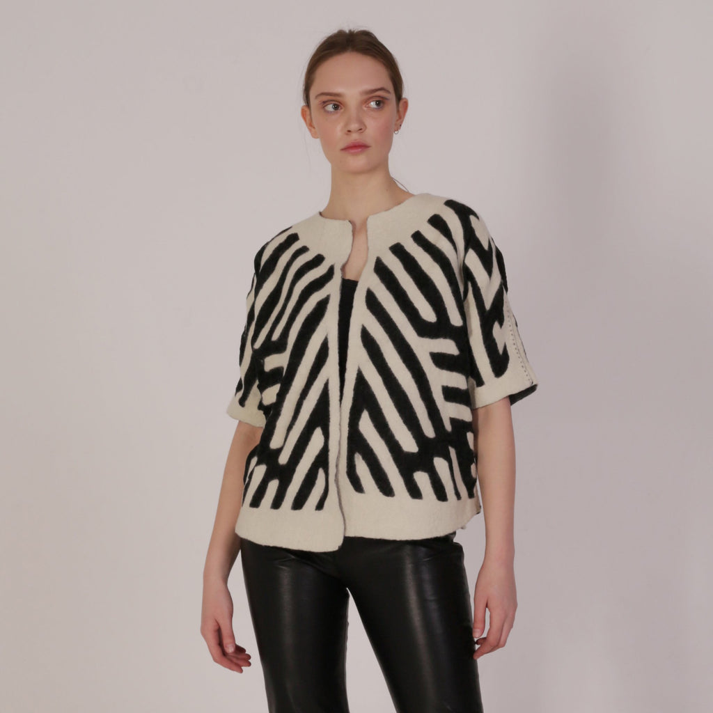 White Haute Artisan Tribal T-jacket