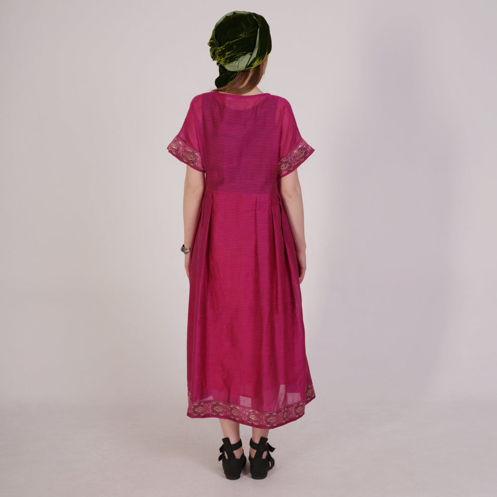 Embroidered panel silk T-dress