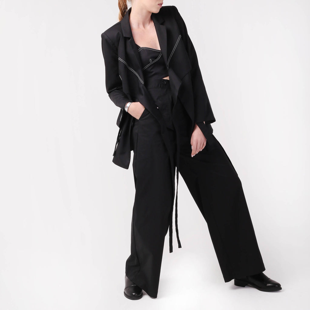 Wide leg Pants with Peplum belt - izzzo
