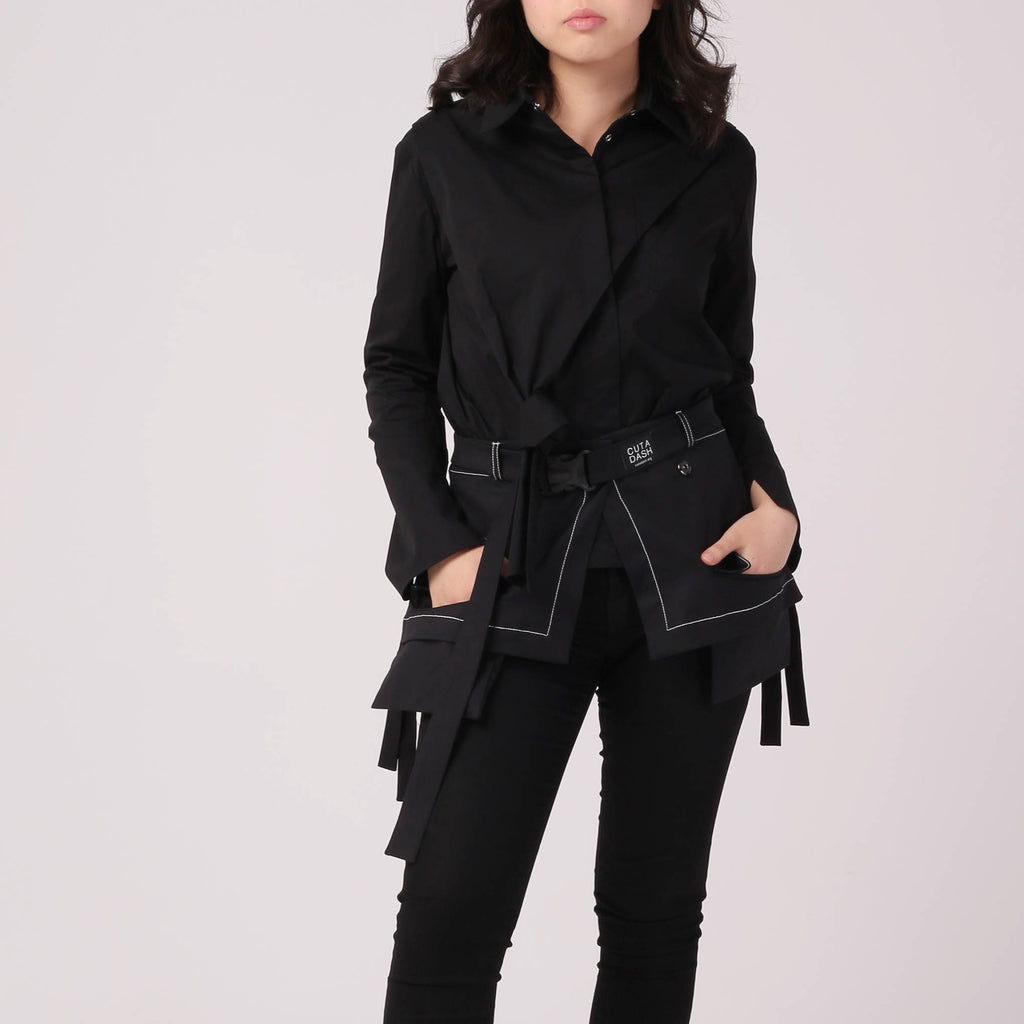 Kintsugi Black Shirt with Knot - IZZZO Marketplace