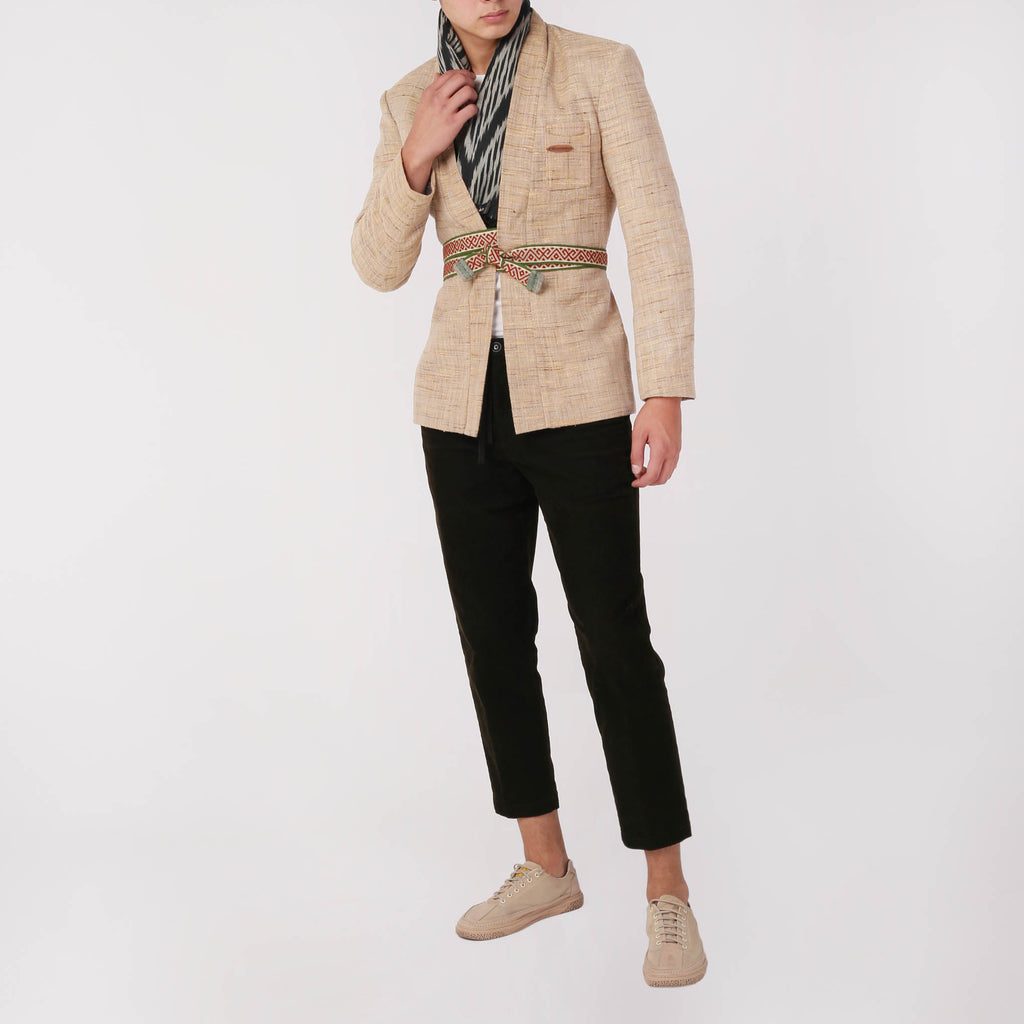 Men's Blazer with Waist Belt - izzzo