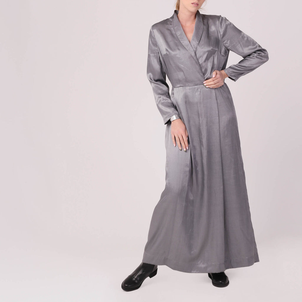 Silky Grey Maxi Dress - IZZZO Marketplace