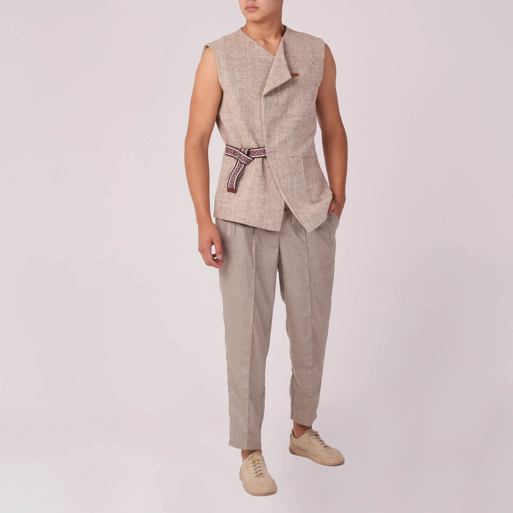 Linen-blend Vest with Belt - izzzo