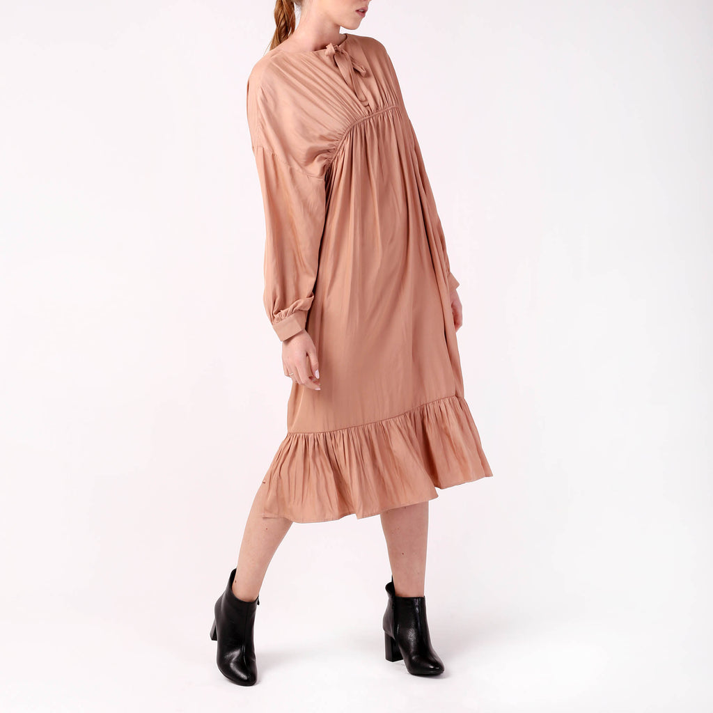 Silk Drawstring Dress - izzzo