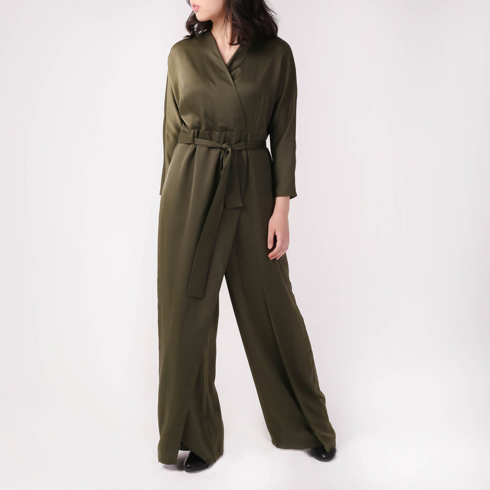 Wrap and Tie Detail Tailored Jumpsuit - izzzo