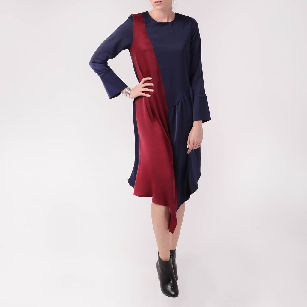 Two-tone Asymmetric Dress - izzzo