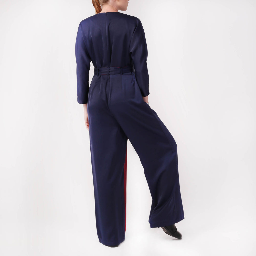 Wrap-effect Two-tone Jumpsuit - izzzo