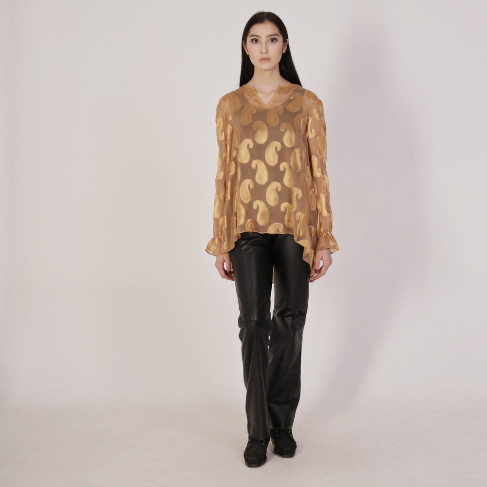 Metallic Bodom Silk Blouse
