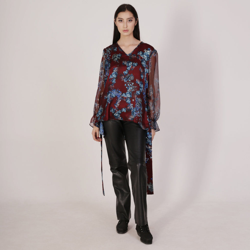 Flower Print Silk Blouse