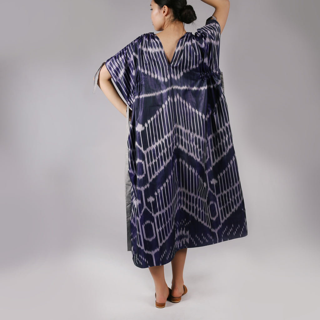 VENERA Maxi Silk Ikat Dress with V neckline - IZZZO Marketplace