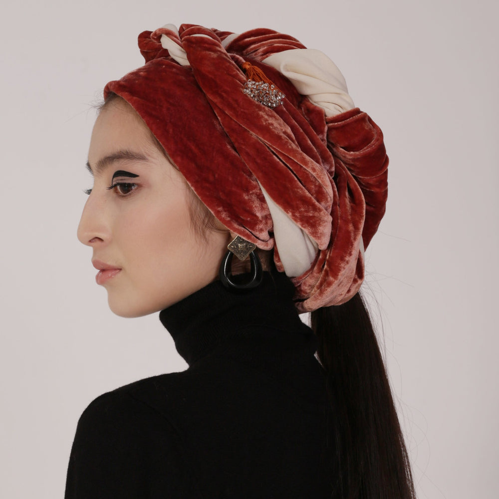Terracotta Velvet Head Scarf
