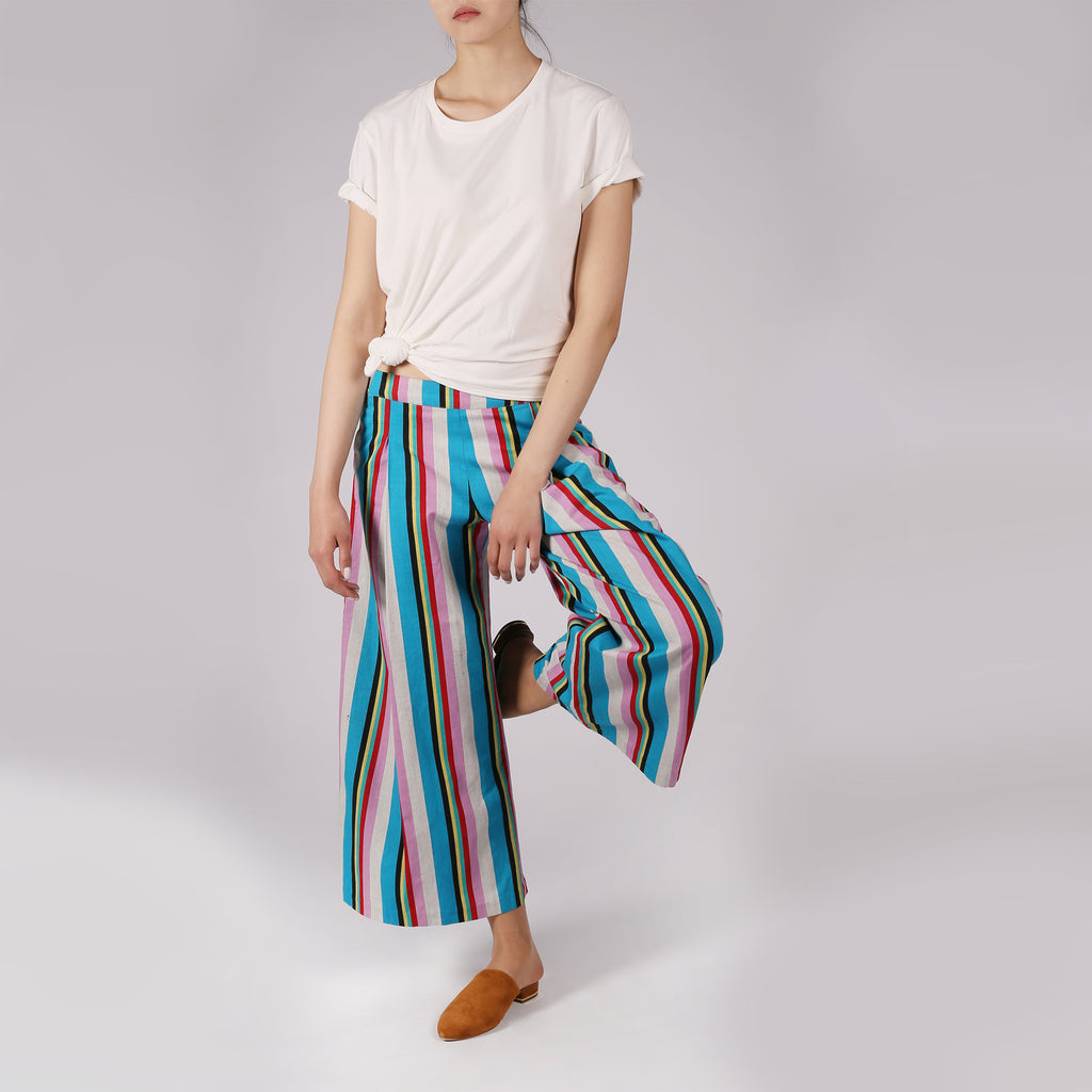 Multicolor Striped Culottes - IZZZO Marketplace