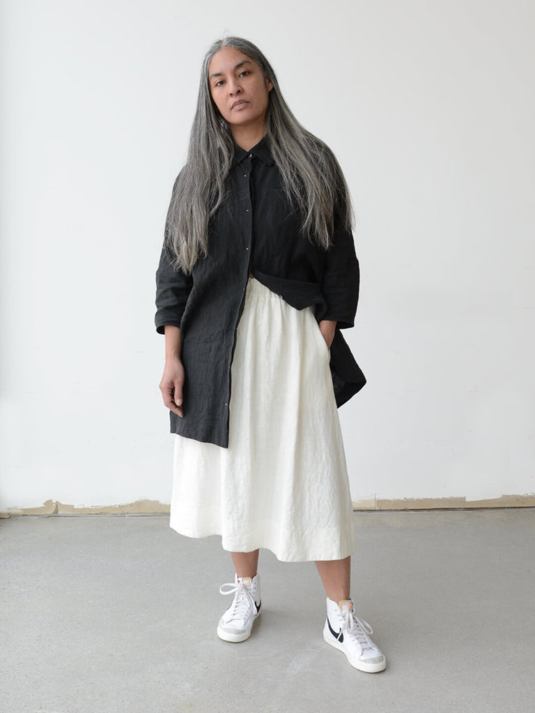 Linen Gathered Skirt - White Rabbit