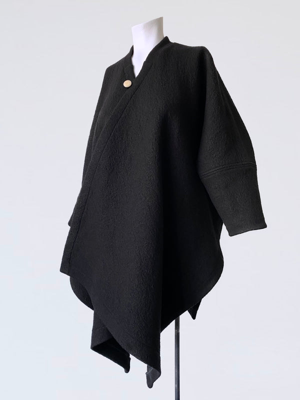 Boiled Wool Wrap Overcoat