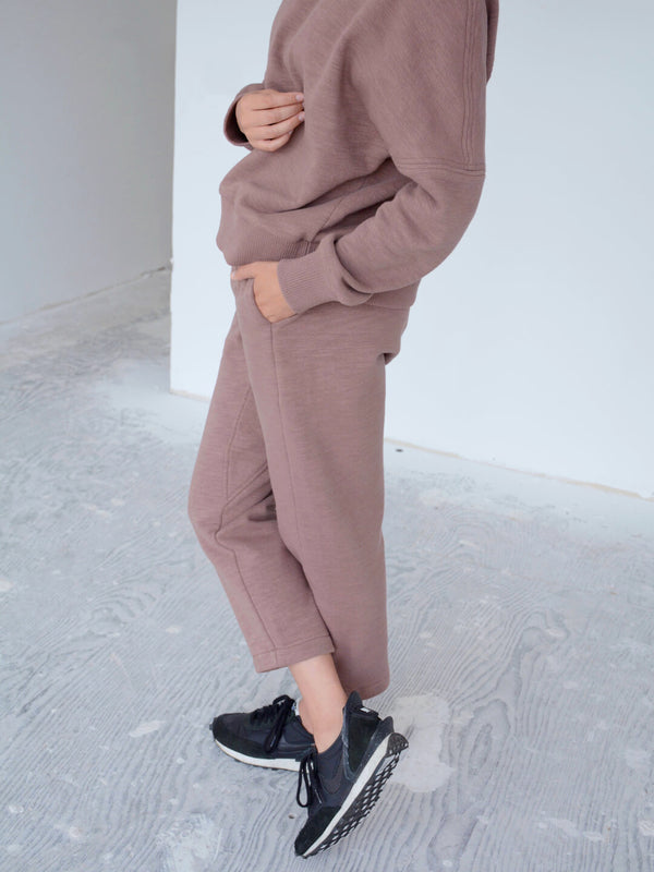 Fleece Track Pants - Smoked Plum