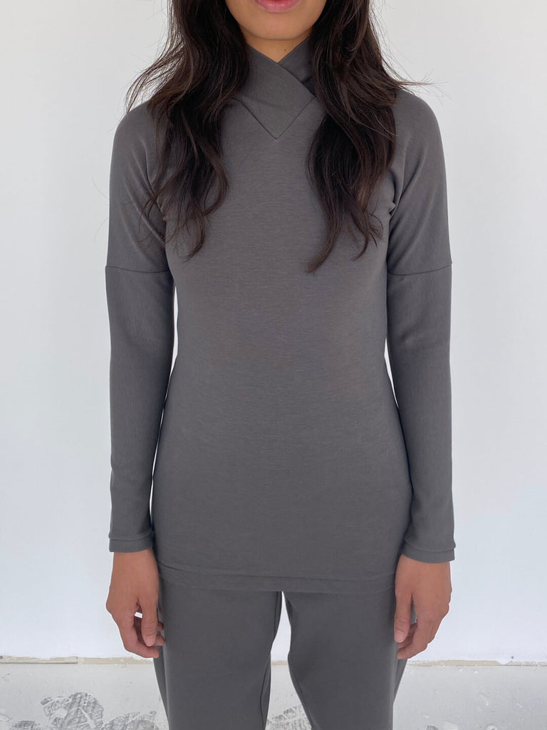 Wrap Neck Long Line - Grey