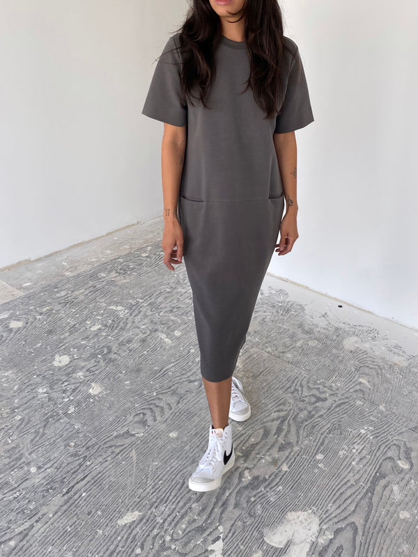 Structured T-Dress - Mid Grey