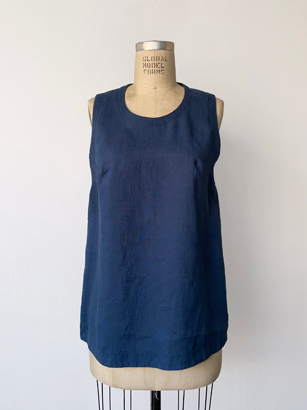 Linen Drop Arm Tank - French Blue