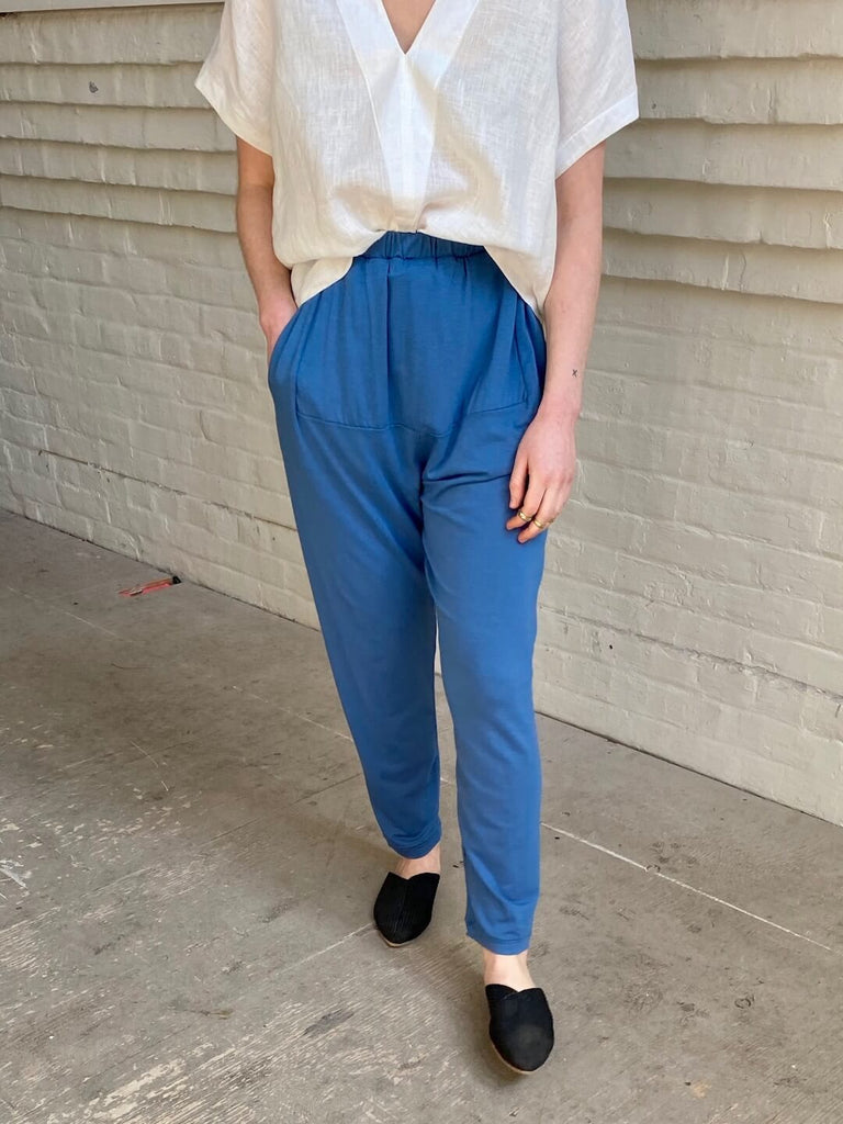 hoi bo azure blue cotton pant with pockets. Made in Canada.