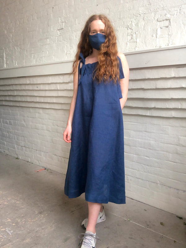 Linen Face Mask - French Blue