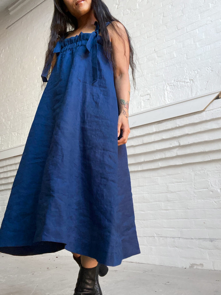 Linen Sundress - French Blue