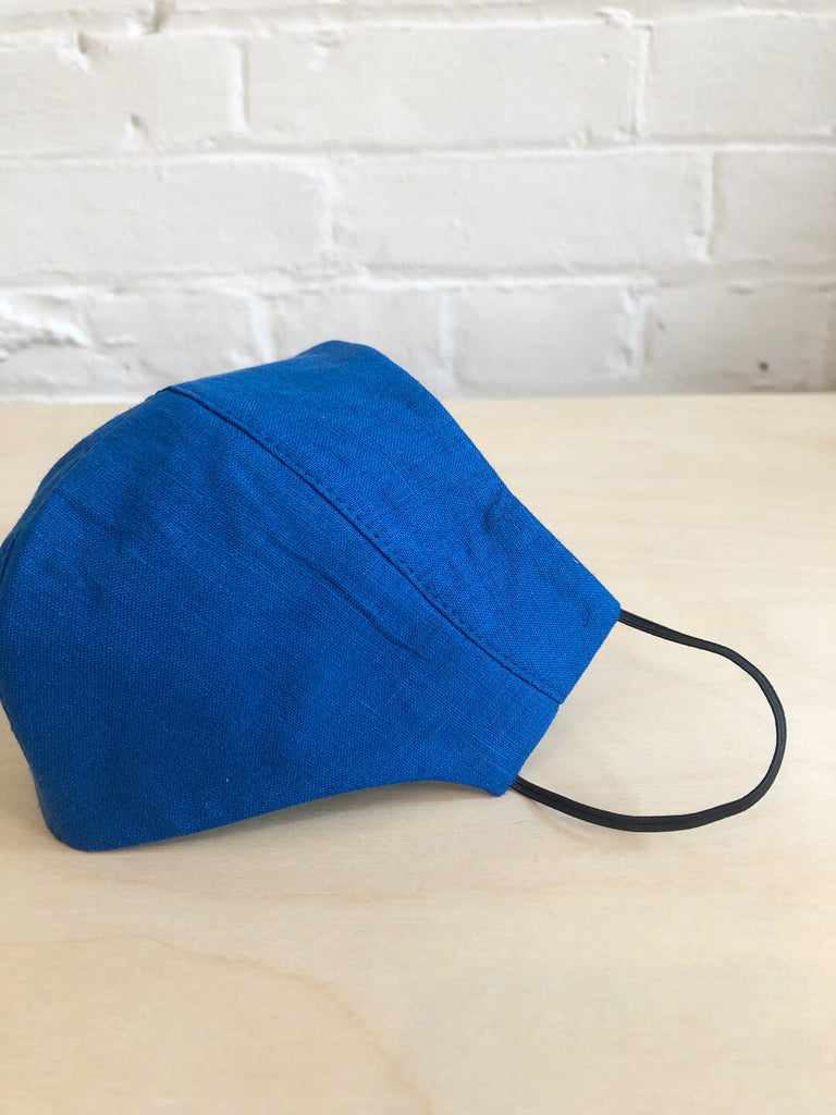 Contoured Linen Face Mask - Electric Blue