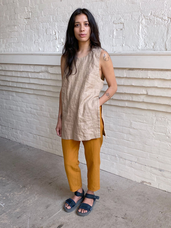 Linen Side Cut Tunic - Hazel