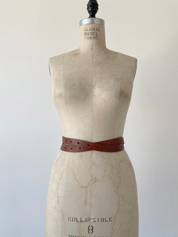 Thin Wrap Belt - Cognac