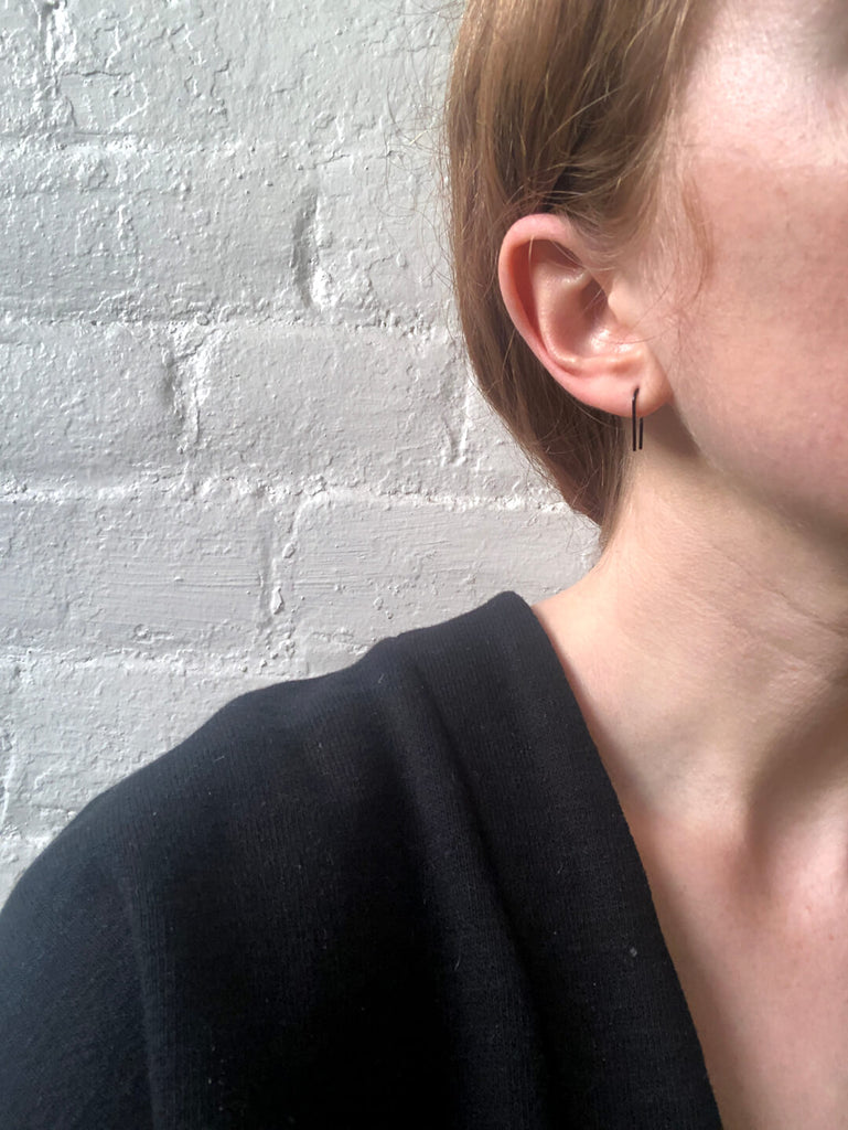 Black Coated Copper Threader Earrings