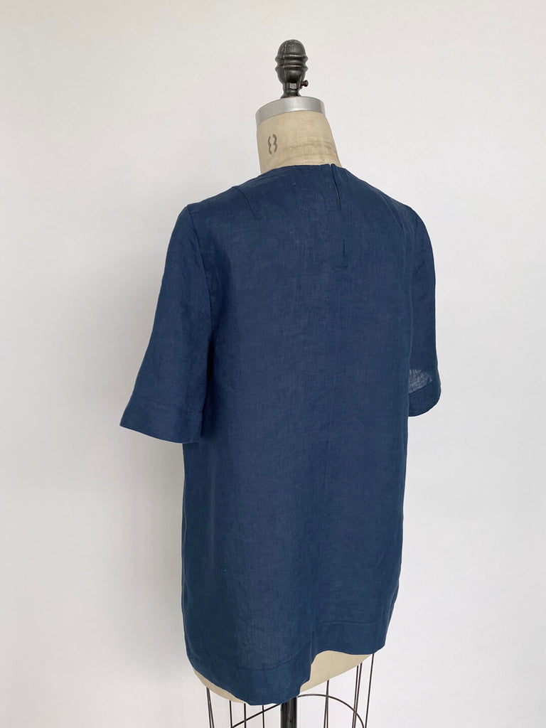 Linen Tailored Tee - French Blue