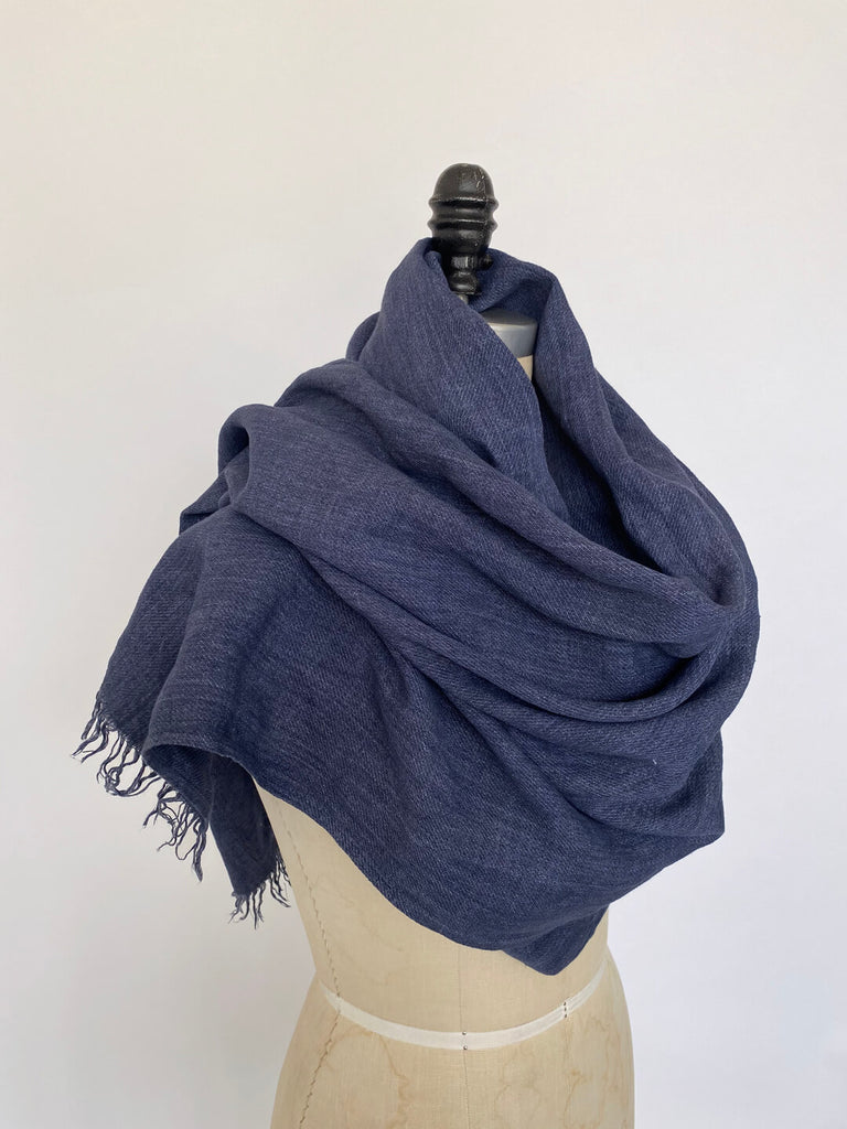 Linen Wrap Scarf - Denim