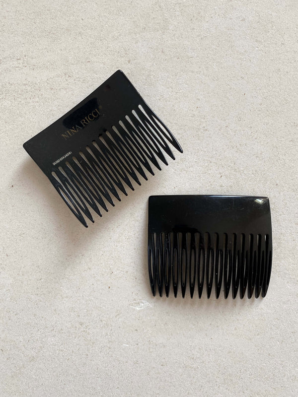 Vintage Nina Ricci Hair Combs – Black, straight