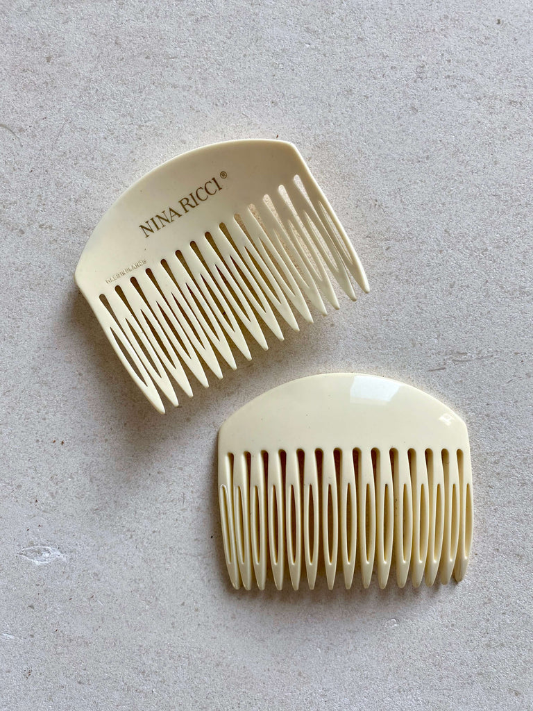 Vintage Nina Ricci Hair Combs – Cream
