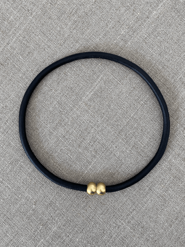 Leather + Brass Strand in Black