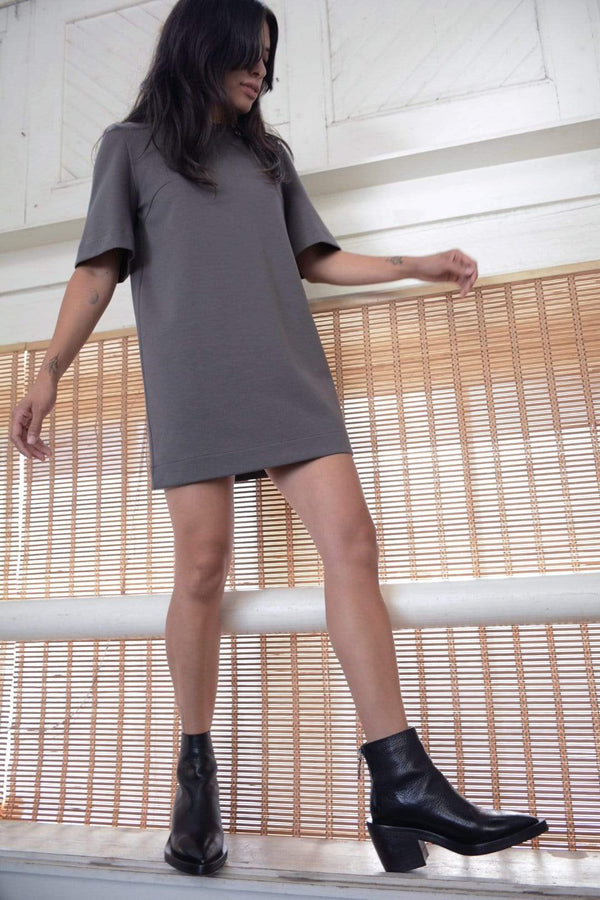 grey cotton mini dress