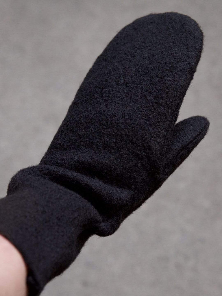 black boiled wool mittens