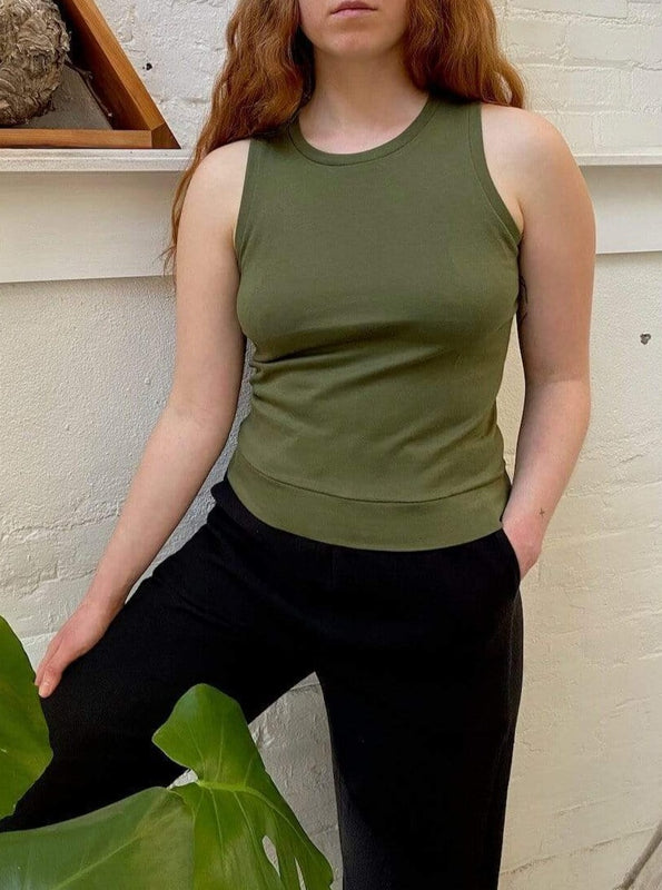green olive tank top cotton made in Canada