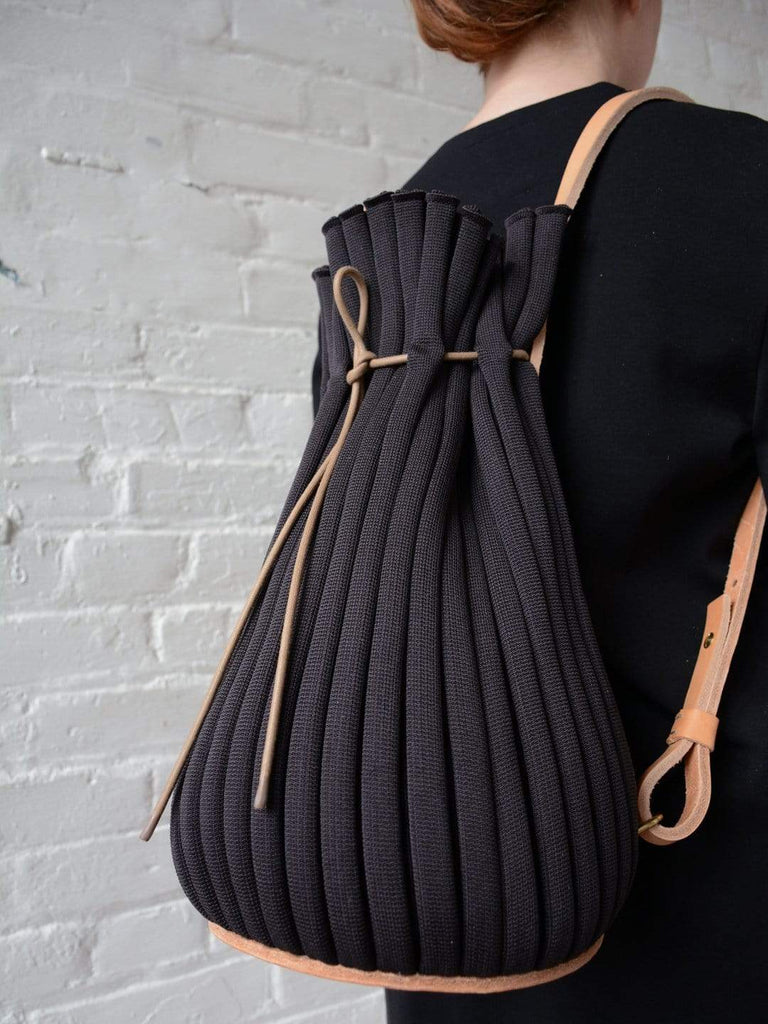 hoi bo aubergine backpack leather nylon made in Canada