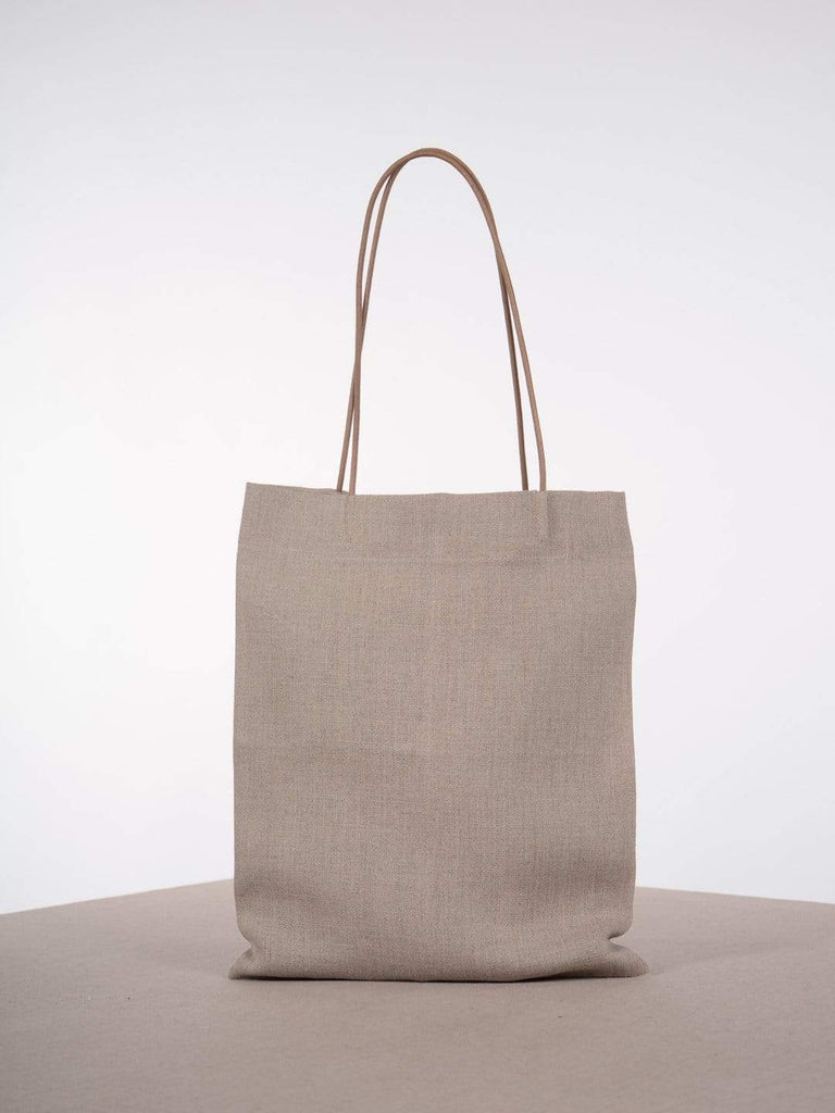 hoi bo natural linen tote with tan cotton cord handles made in Canada