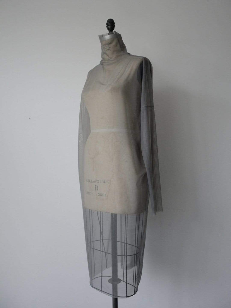 hoi bo grey mesh turtle neck dress with long sleeves made in Canada