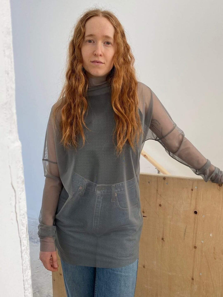 hoi bo grey mesh turtle neck tunic with long sleeves made in Canada