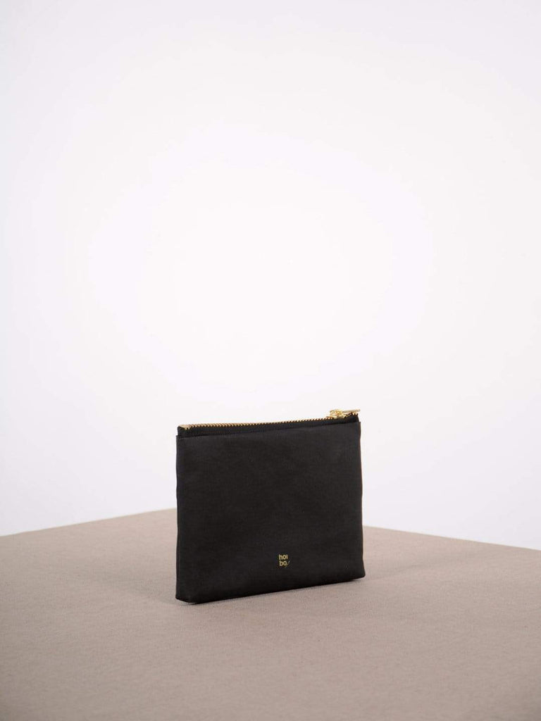 hoi bo black washable paper clutch with brass zipper made in Canada
