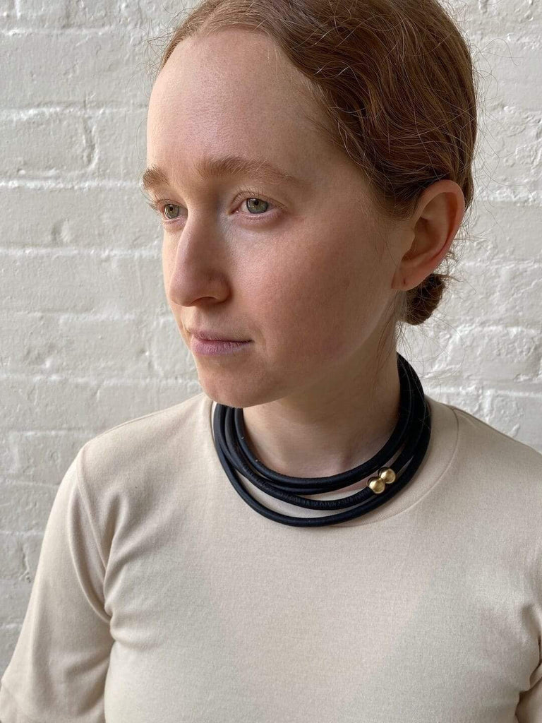 hoi bo black leather and brass wrap necklace made in Canada