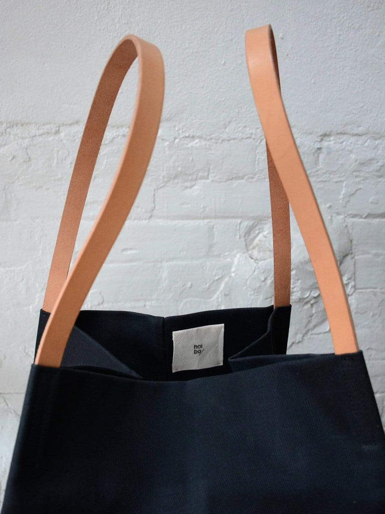 hoi bo black waxed canvas box tote bag with natural leather handles made in Canada