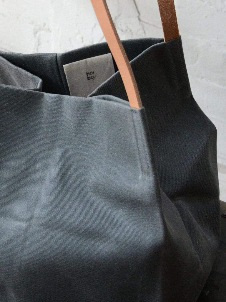 hoi bo grey waxed canvas box tote bag with natural leather handles made in Canada