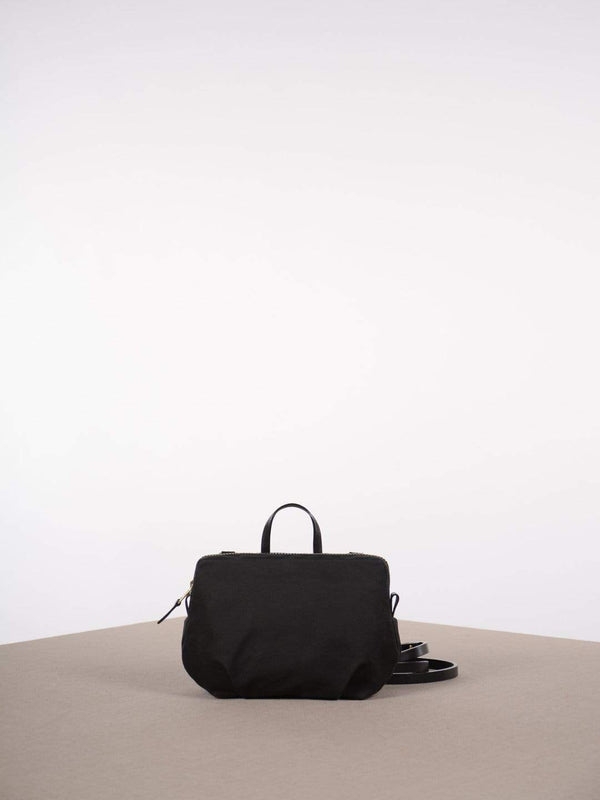 hoi bo black waxed canvas purse with black leather strap made in Canada