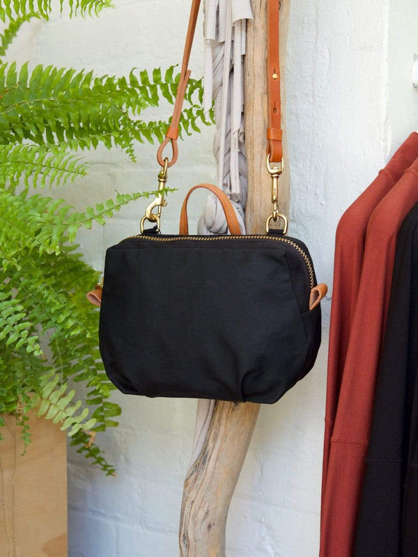hoi bo black waxed canvas purse with natural leather strap made in Canada
