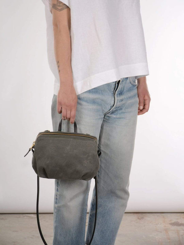 hoi bo grey waxed canvas purse with black leather strap made in Canada
